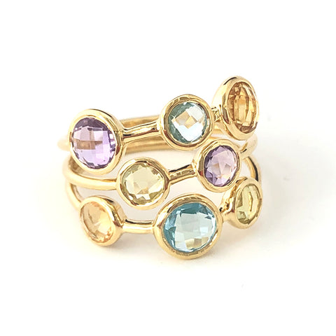 Multi-stone Three Band Ring - Lemon Quartz, Blue Topaz, Citrine, Amethyst