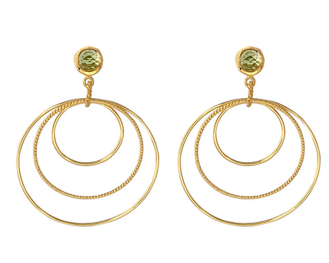 Peridot Single Stone Triple Circle Earrings