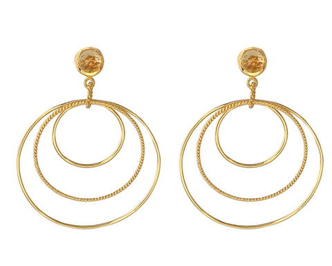 Single Stone Three Circle Vermeil Earrings - Citrine