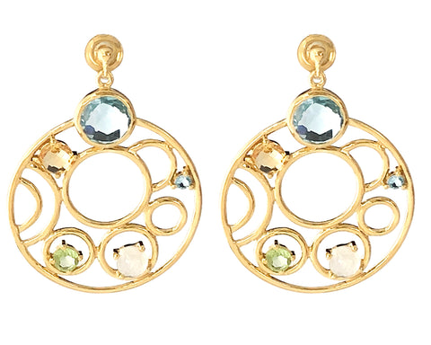 Blue Topaz, Peridot, Citrine and Moonstone Huge Round Earrings