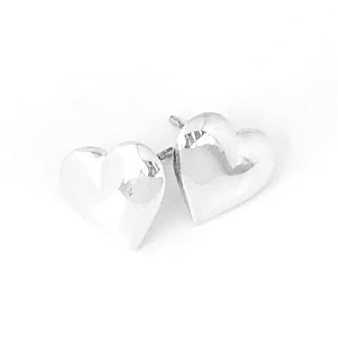 Sterling Silver Large Silver Solid Heart Earrings