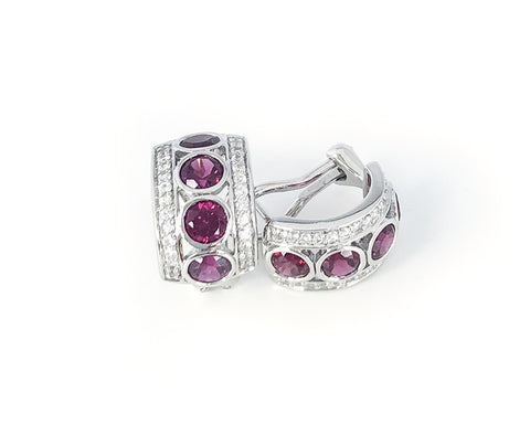 Rhodolite and White Sapphire Four Stone Hoop Earrings