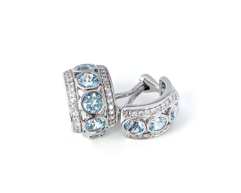 'NEW'  Blue Topaz and White Sapphire Four Stone Hoop Earrings
