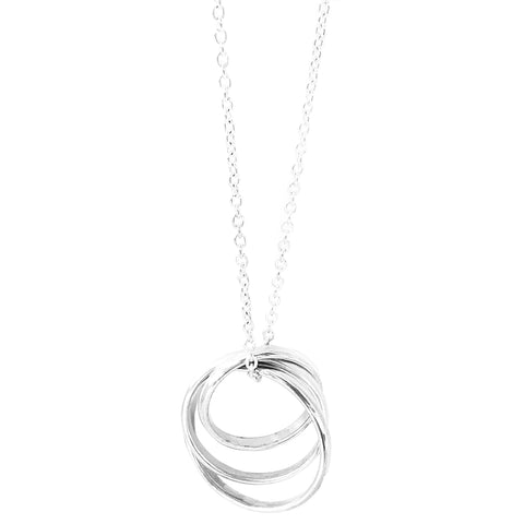 "Sterling Silver Triple Pendant on 16"" Oval Link Chain"