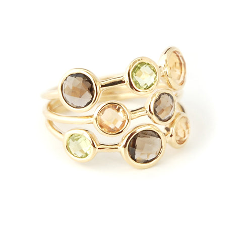 Multi-stone Three Band Ring - Peridot, Citrine, Smoky Quartz