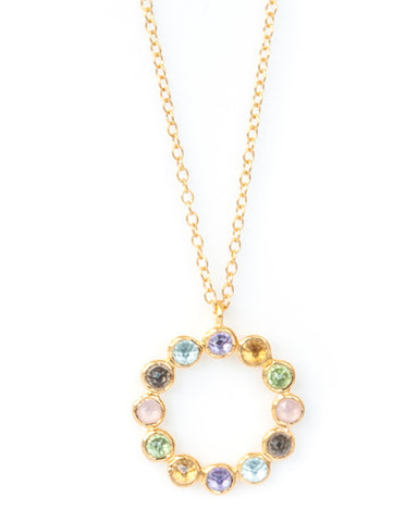 Multi-stone Vermeil Twelve Stone Necklace