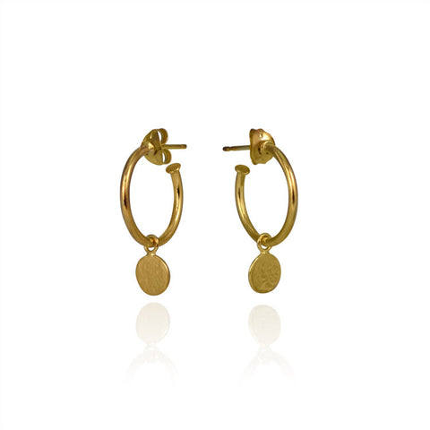 Paillette Vermeil Drop Hoop Earrings