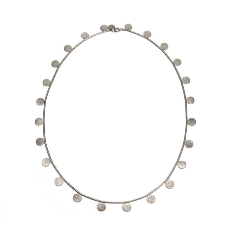 "Sterlind Silver Paillette Disc & Bead 20""Necklace"