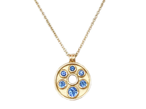 Blue Sapphire and 18ct Gold Pendant 'new'