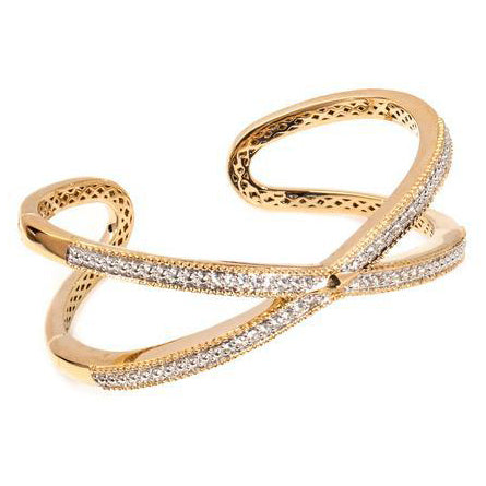 White Sapphire 14ct gold Vermeil Criss Cross Bangle