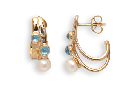 Blue Topaz Two Stone and Pearl Earrings