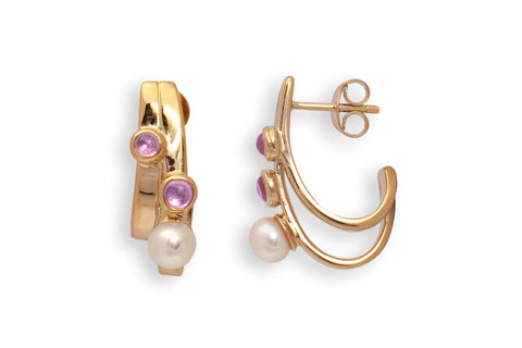 Pink Sapphire Two Stone and Pearl Earrings