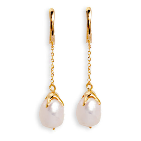 Long Chain Pearl Earrings
