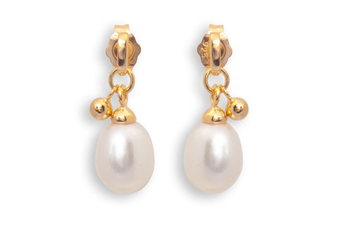 Vermeil Drop Pearl with Gold Ball Earrings