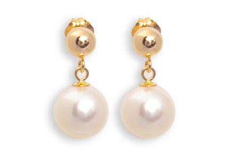 Gold Stud Drop Pearl Earrings