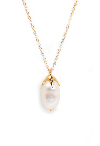 Baroque Single Pearl Drop Necklace