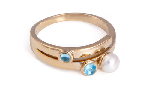 Blue Topaz Two Stone and Pearl Ring