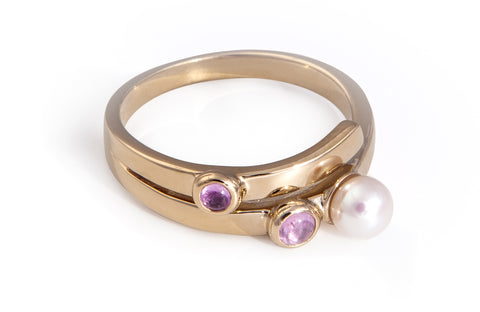 Pink Sapphire Two Stone and Pearl Ring