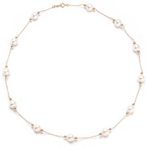 Gold Chain  18ct with White Pearls