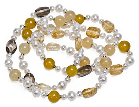 Pearl, Citrine and Yellow Jade Necklace