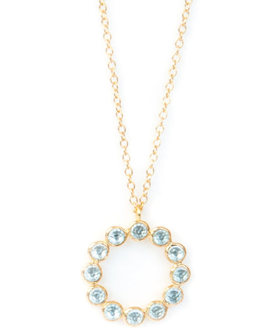 Blue Topaz 12 Stone Vermeil Necklace