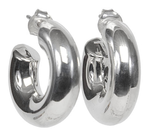 Sterling Silver Thick Circle Earrings