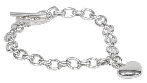 Sterling Silver Round linked Bracelet with Solid Heart