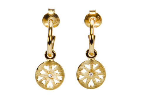 Vermeil Hoop Earrings with Disc Drop