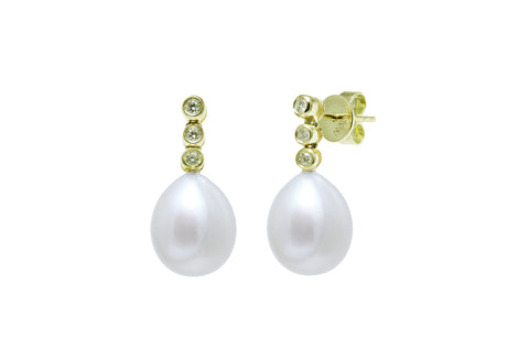 "'NEW""  Cultured River Pearl Drop Earrings with Three Diamonds"