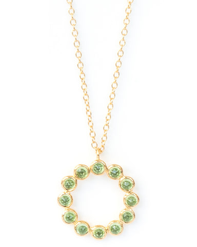 Peridot 12 Stone Vermeil Necklace