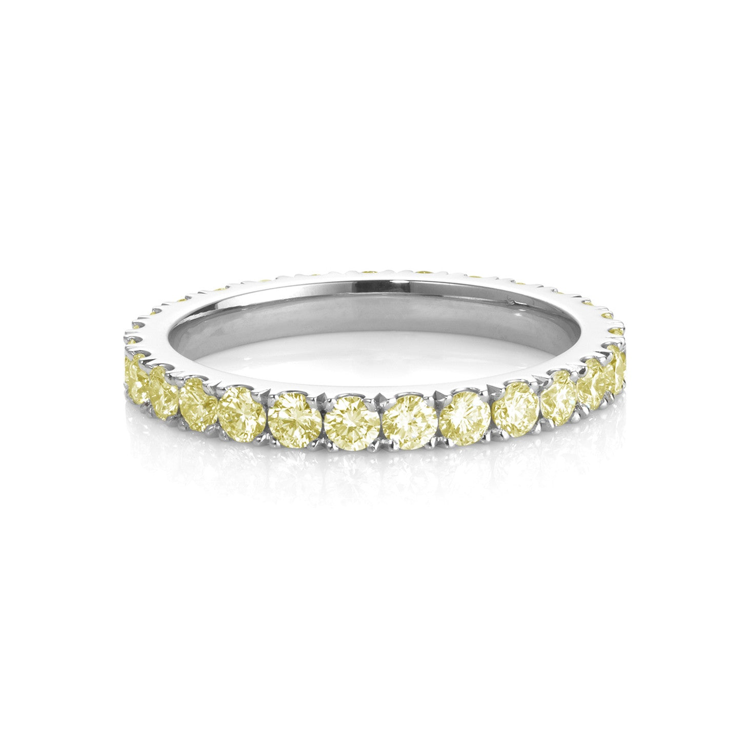 18ct white gold/ platinum with natural mid yellow diamonds