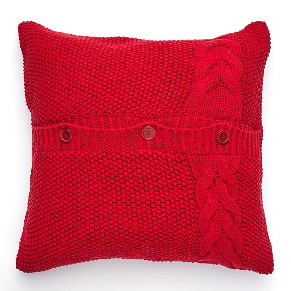 Pure Cotton Knitted Pillow, Cable Knot