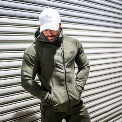 Khaki RGFT Thermal Zip-Up Hoodie