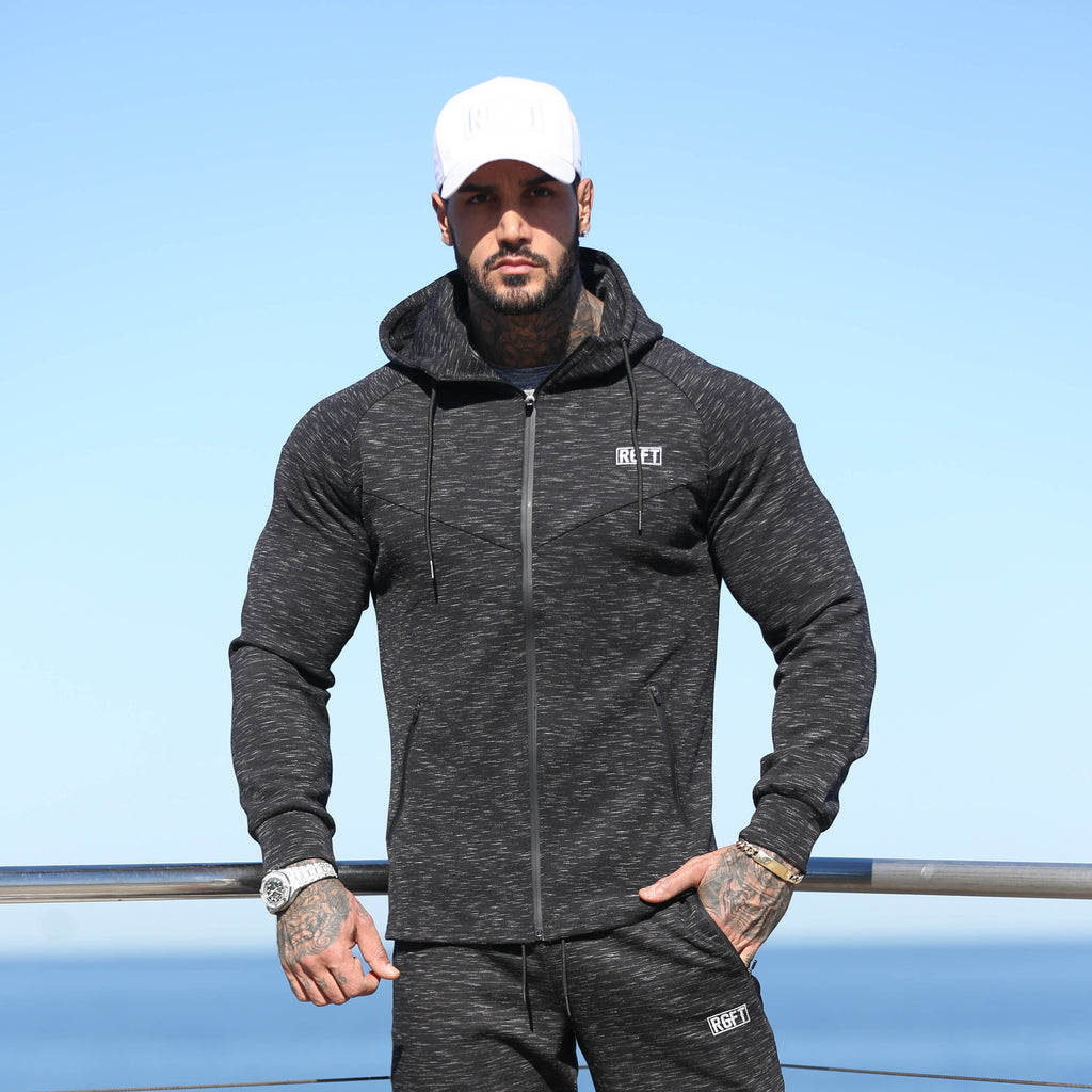 Black RGFT Thermal Zip-Up Hoodie