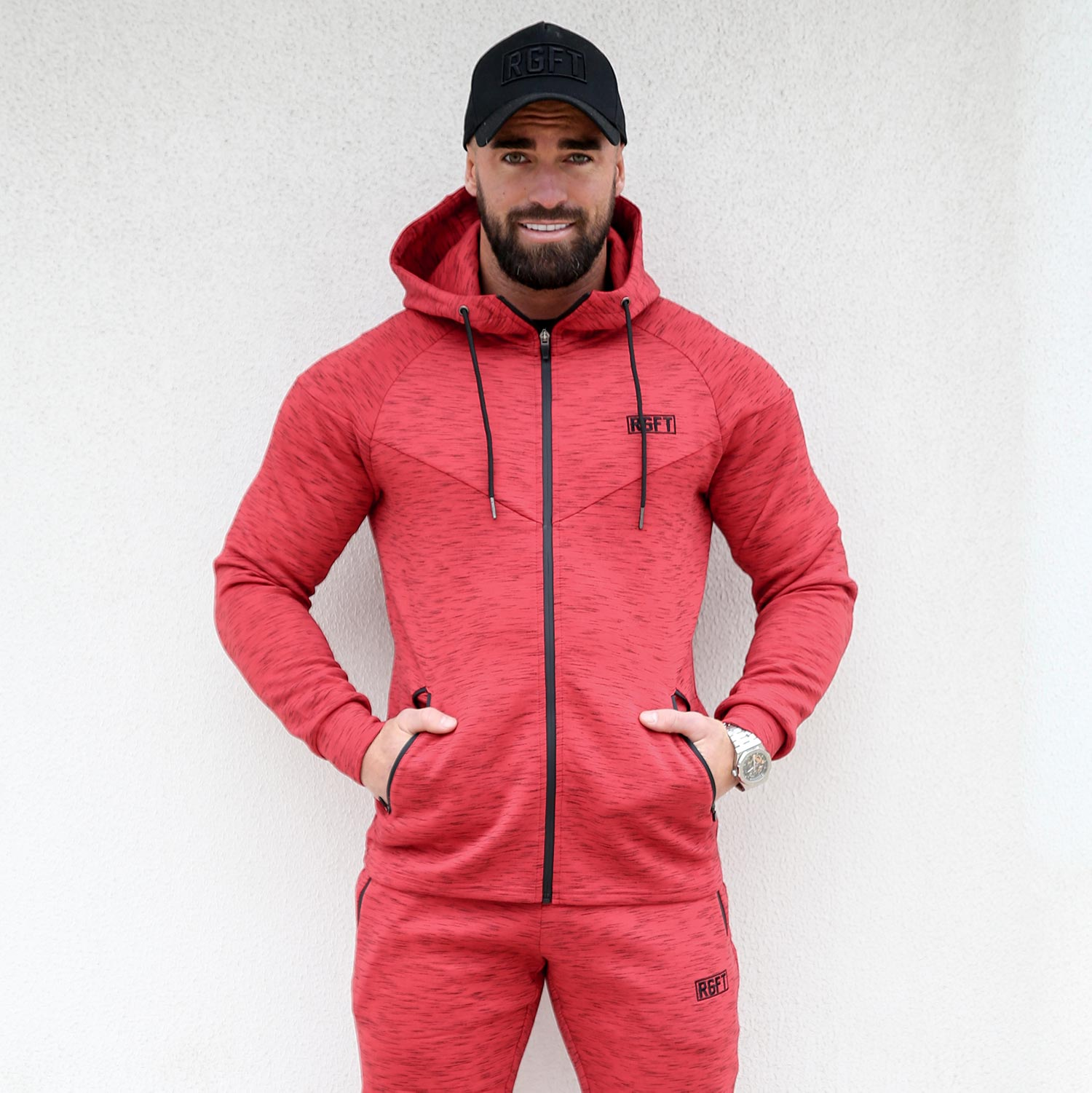 Red RGFT Thermal Zip-Up Hoodie