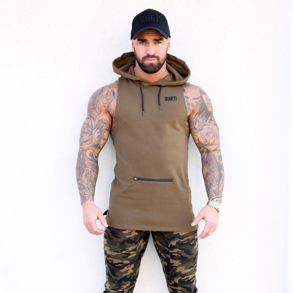 Khaki RGFT - Super Stretch -  Sleeveless Hoodie