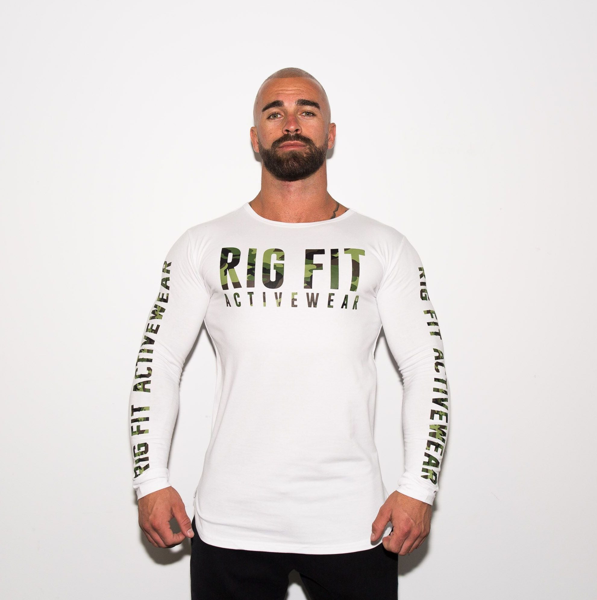 White and Green Camo Long Sleeve T-shirt
