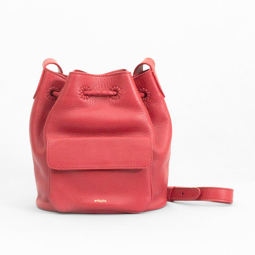 Layla Leather Mini Bucket Bag, Red