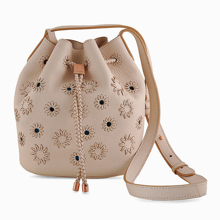 Layla Mini flower bucket bag in Nude