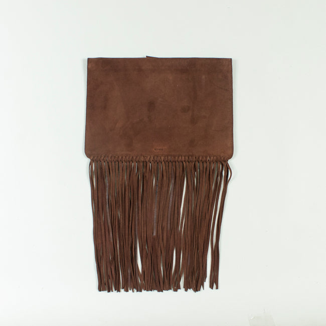 Shailly leather fringe clutch, Tan