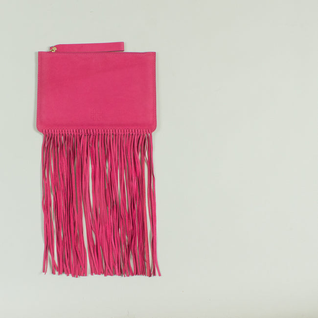 Shailly leather fringe clutch (small), Fuschia