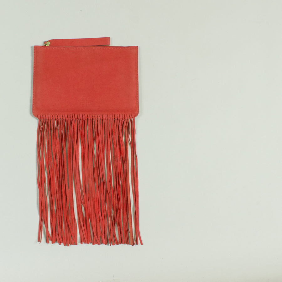 Shailly leather fringe clutch, Red