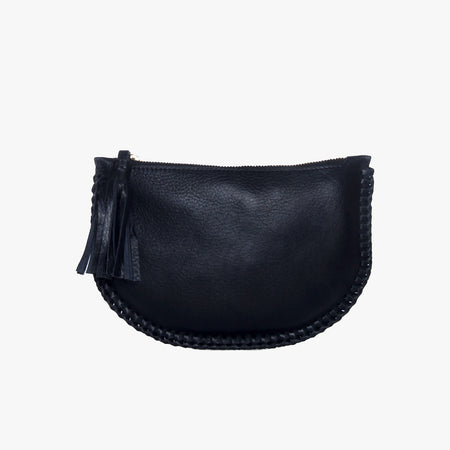 Half moon leather clutch, Black