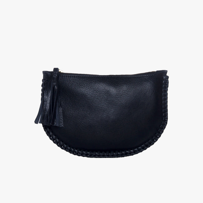 Half moon leather clutch