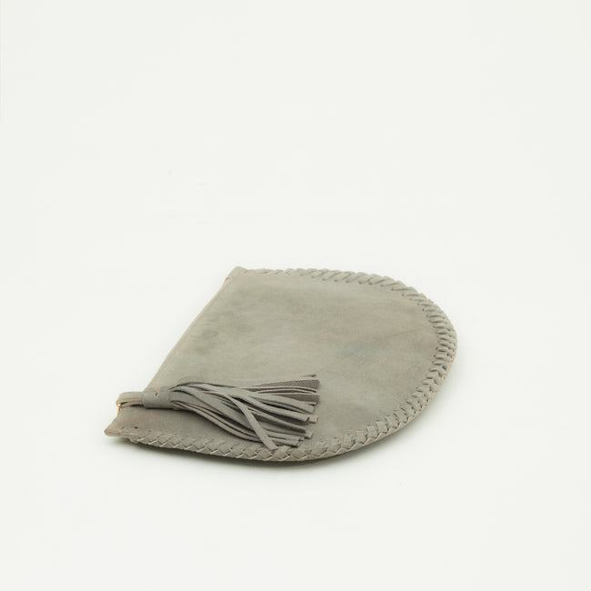 Half moon leather clutch, Grey