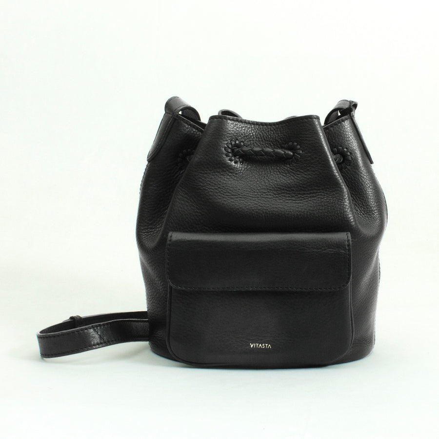 Layla Mini flower bucket bag in black