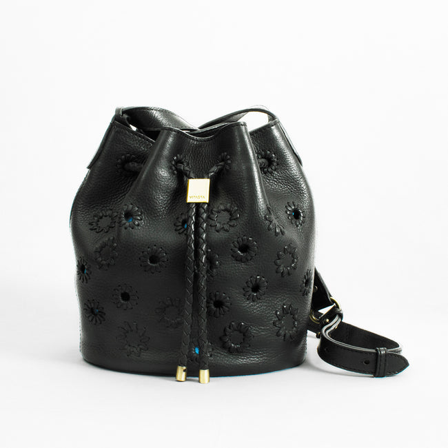 Layla Leather Mini Bucket Bag, Black