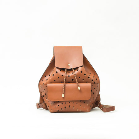 Leather Midi Backpack, Tan