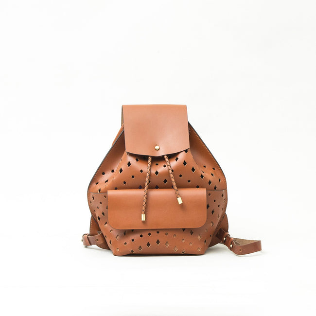 Midi Backpack Punched, Tan