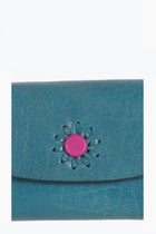 Momento leather card case-Indigo blue